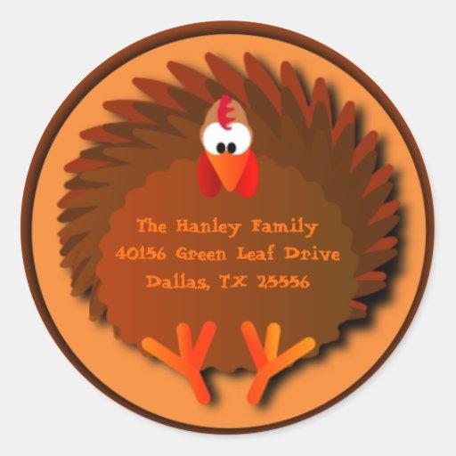 Henny Thanksgiving Address Label Round Stickers