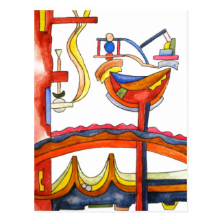 Henpecked Rooster-Abstract Art Hand Painted Postcard