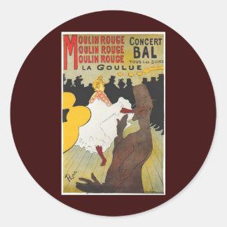 Henri de Toulouse Lautrec Moulin Rogue Round Sticker