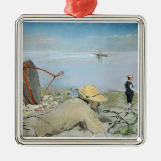 Henri Guerard Relaxing on the Beach (pastel on can Silver-Colored Square Decoration
