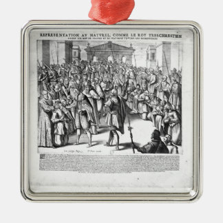 Henri IV  curing the sufferers of scrofula Silver-Colored Square Decoration