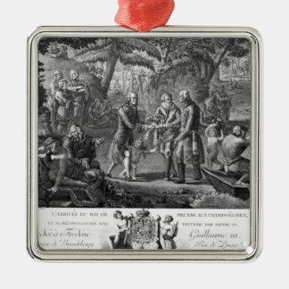 Henri IV  reconciling Frederick William II Silver-Colored Square Decoration