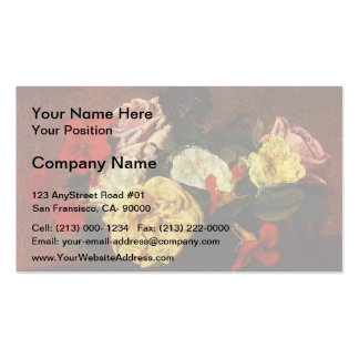 Henri Latour- Roses and Nasturtiums in a Vase Pack Of Standard Business Cards