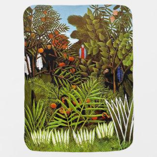 Henri Rousseau - Exotic Landscape Jungle Art Baby Blanket