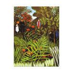Henri Rousseau - Exotic Landscape Jungle Art Canvas Print