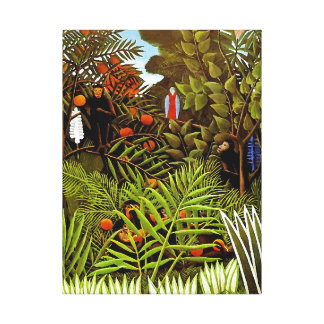 Henri Rousseau - Exotic Landscape Jungle Art Canvas Print