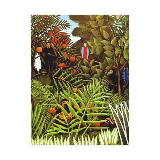 Henri Rousseau - Exotic Landscape Jungle Art Canvas