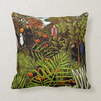 Henri Rousseau - Exotic Landscape Jungle Art Throw Pillow