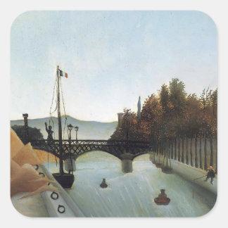 Henri Rousseau- Footbridge at Passy Square Stickers