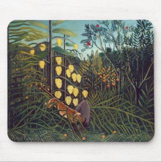 Henri Rousseau- Forest: Battling Tiger, Buffalo Mousepads