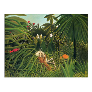 Henri Rousseau- Jaguar Attacking a Horse Postcard