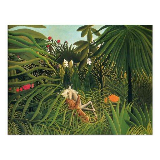 Henri Rousseau- Jaguar Attacking a Horse Postcards