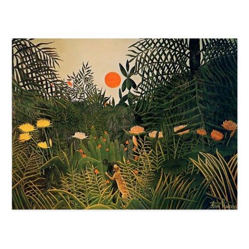 Henri Rousseau- Negro Attacked by a Jaguar Postcards