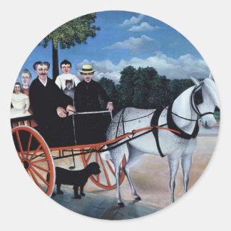 Henri Rousseau- Old Man Junier's Trap Round Stickers