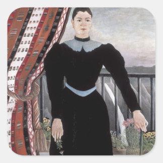 Henri Rousseau- Portrait of a Woman Square Stickers