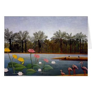 "Henri Rousseau's Naïve Painting ""The Flamingos"" Card"