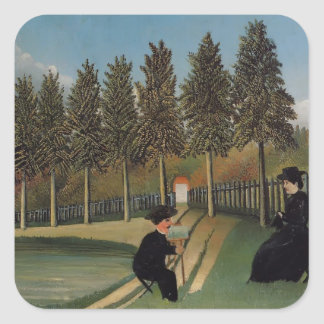 Henri Rousseau- The Artist Painting his Wife Stickers