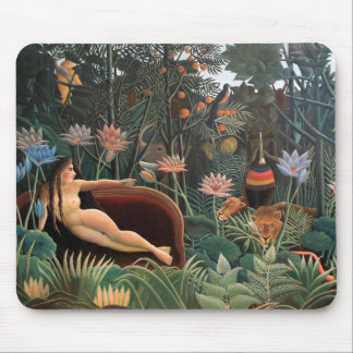 Henri Rousseau The Dream Jungle Flowers Painting Mouse Pad