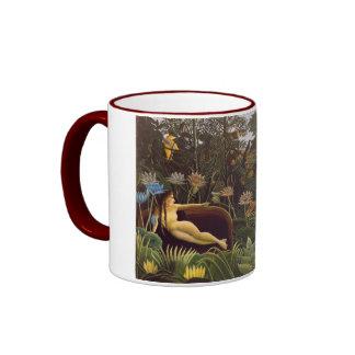 Henri Rousseau The Dream Jungle Flowers Painting Ringer Mug