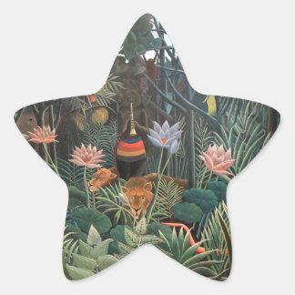 Henri Rousseau The Dream Jungle Flowers Painting Star Sticker