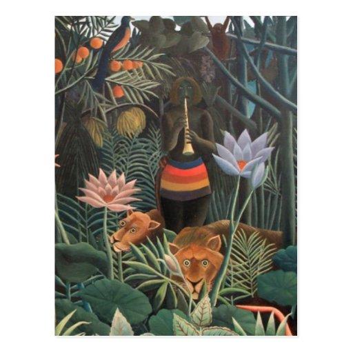 Henri Rousseau The Dream Jungle Flowers Surrealism Postcard