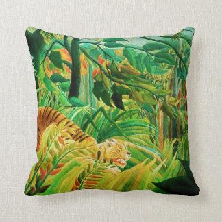 Henri Rousseau Tiger in a Tropical Storm Pillow Throw Cushion