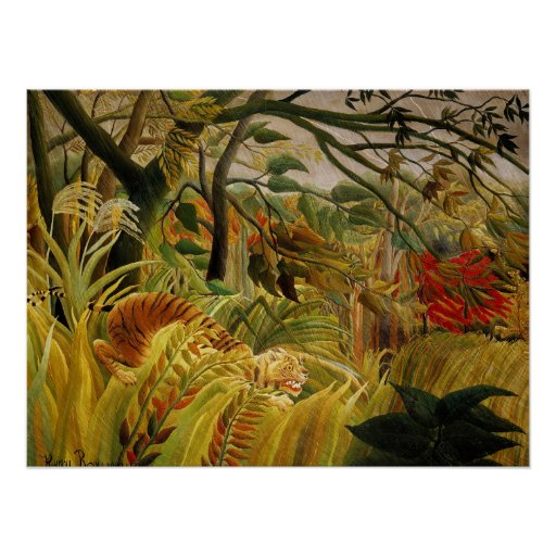 Henri Rousseau Tiger in Tropical Storm Fine Art Poster