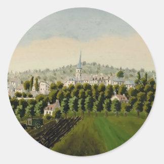 Henri Rousseau- View of Bottom & MeudonBillancourt Round Stickers