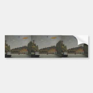Henri Rousseau- View of the Bridge at Sevres&Hills Bumper Sticker