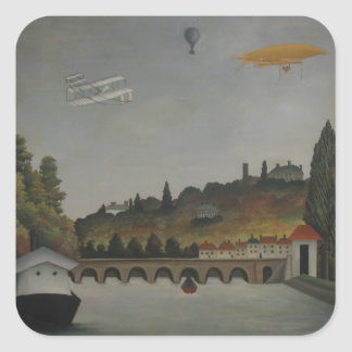 Henri Rousseau- View of the Bridge at Sevres&Hills Square Stickers