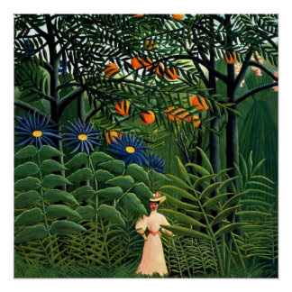 Henri Rousseau - Woman Walking in an Exotic Forest Perfect Poster