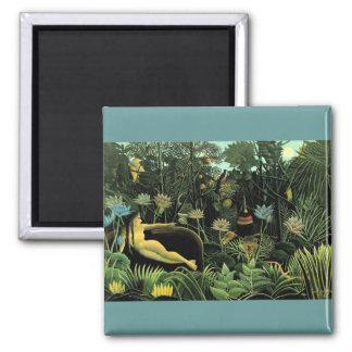 Henri Rousseau's The Dream (1910) Square Magnet