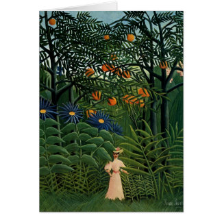 """Henri Rousseau's """"Woman Walking in Exotic Forest"""" Greeting Card"""