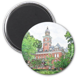 """""""Henry County Courthouse"""" 6 Cm Round Magnet"""