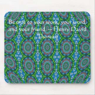 Henry David qoute with primitive tribal design Mouse Pads