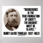 Henry David Thoreau Disobedience True Liberty Poster