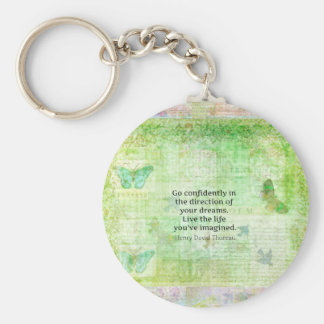 Henry David Thoreau Dream Quote with nature theme Key Ring