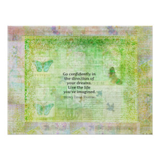 Henry David Thoreau Dream Quote with nature theme Print