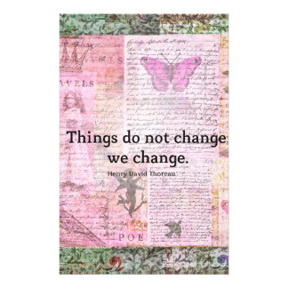 Henry David Thoreau inspirational CHANGE quote Stationery Paper