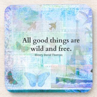 Henry David Thoreau Inspirational FREEDOM quote Drink Coaster