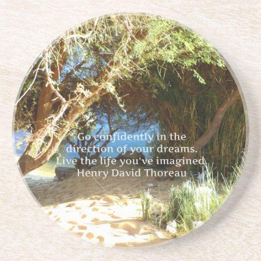 Henry David Thoreau Motivational Dream Quotation Beverage Coaster