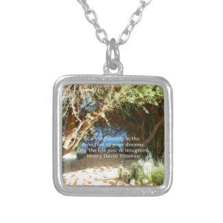 Henry David Thoreau Motivational Dream Quotation Silver Plated Necklace