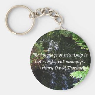 Henry David Thoreau quotation about FRIENDSHIP Basic Round Button Key Ring