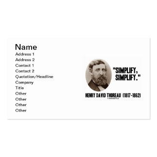 Henry David Thoreau Simplify Simplify Quote Pack Of Standard Business Cards