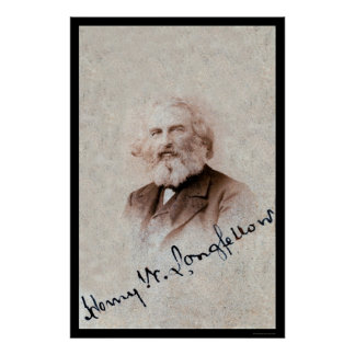 Henry Longfellow Signed Card 1860 Poster