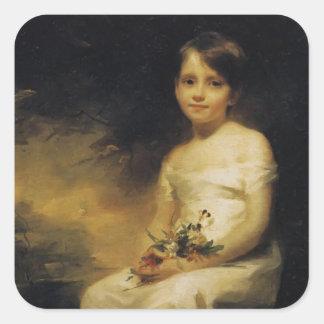Henry Raeburn- Little Girl Holding Flowers Square Sticker