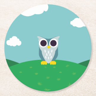 Henry the Owl Round Paper Coaster