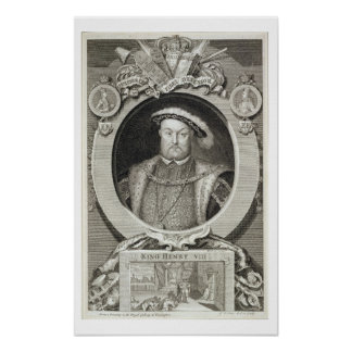 Henry VIII 1491-1547 after a painting in the Ro Poster