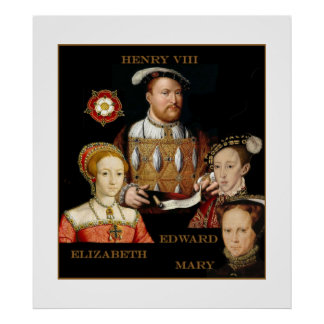 Henry VIII and his three children Poster