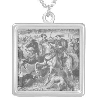 Henry VIII at the Royal Hunt in Epping Forest Silver Plated Necklace
